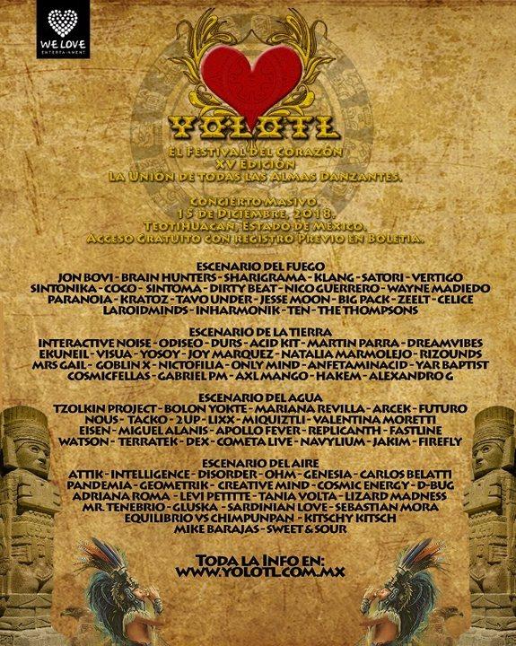 Yolotl - El Festival del Corazon - Edicion XV 15 Dec '18, 12:00