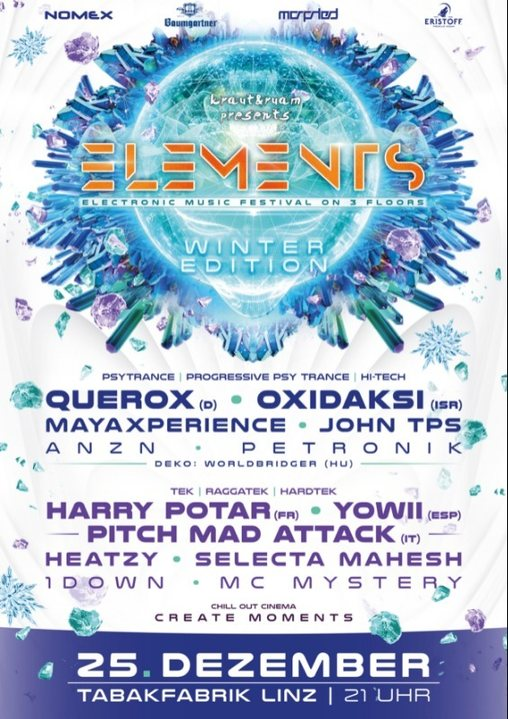 ELEMENTS WINTER FESTIVAL LINZ 25 Dec '18, 21:00