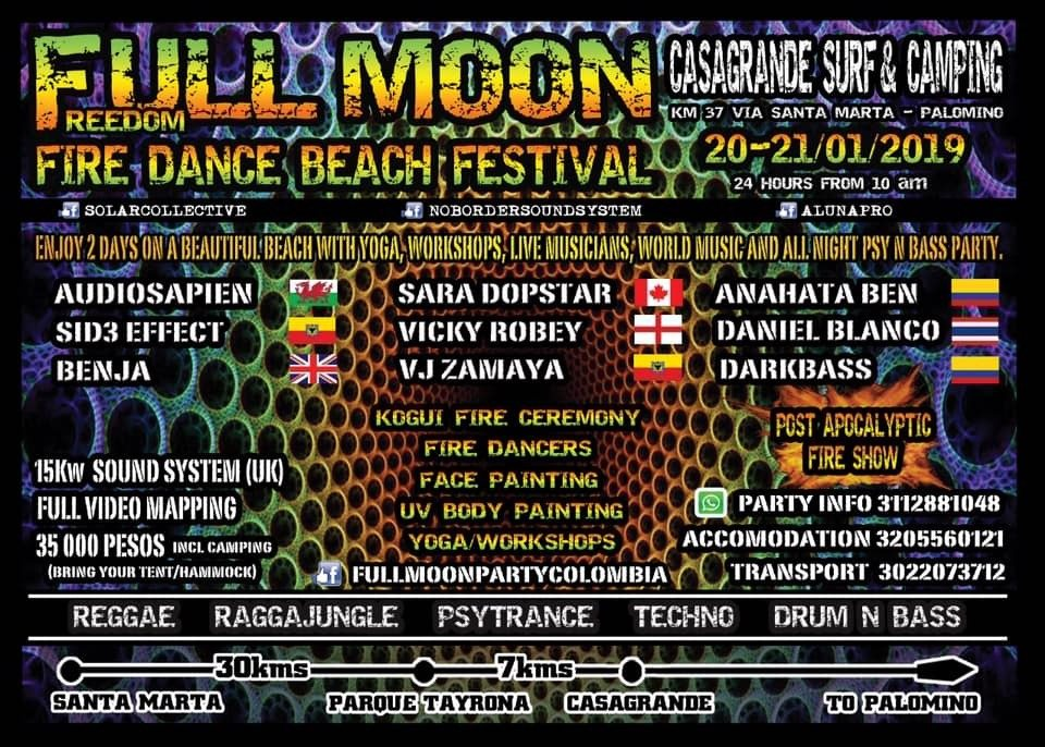 Full moon fire dance beach festival 20 Jan '19, 10:00