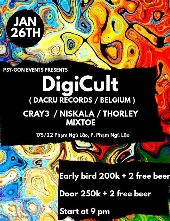 Progressive Psy-Gon presents Digicult (Be, Dacru Records) 26 Jan '19, 21:00