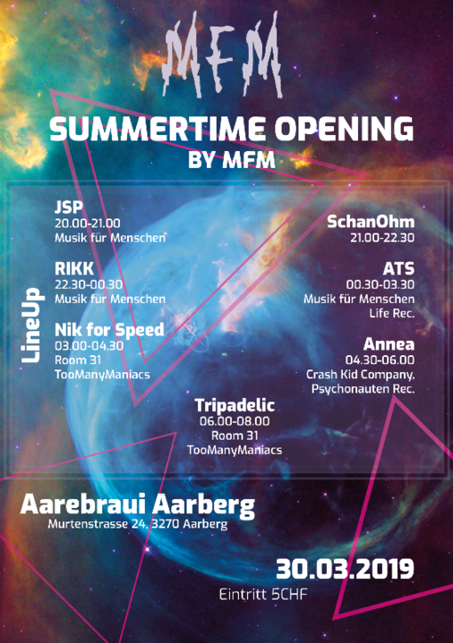 Summertime Opening by MfM 30 Mar '19, 20:00