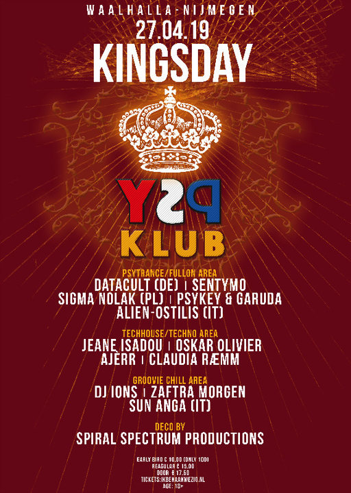 ♔ KingsDay Psychedelic Klub ♔ 27 Apr '19, 23:00