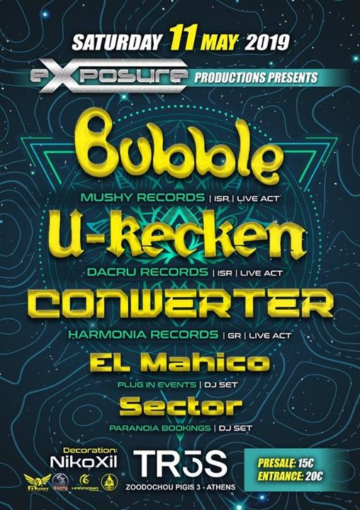 Exposure presents Bubble / U-Recken & Conwerter in Athens on Sat 11 May !!! 11 May '19, 23:30
