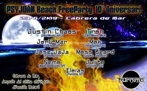 Festa PSYJOAN beach FreeParty!! 23/06/2019 CABRERA de MAR (Barcelona) 23 Jun '19, 21:00
