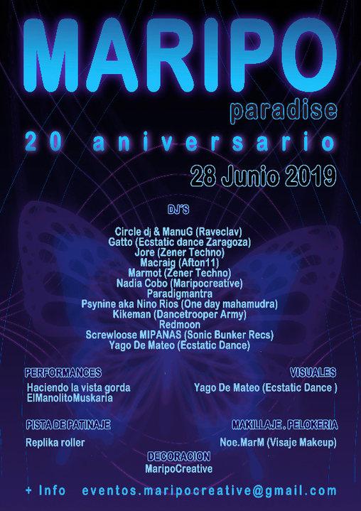 Maripo Summer Paradise 20º aniversario 28 Jun '19, 20:00