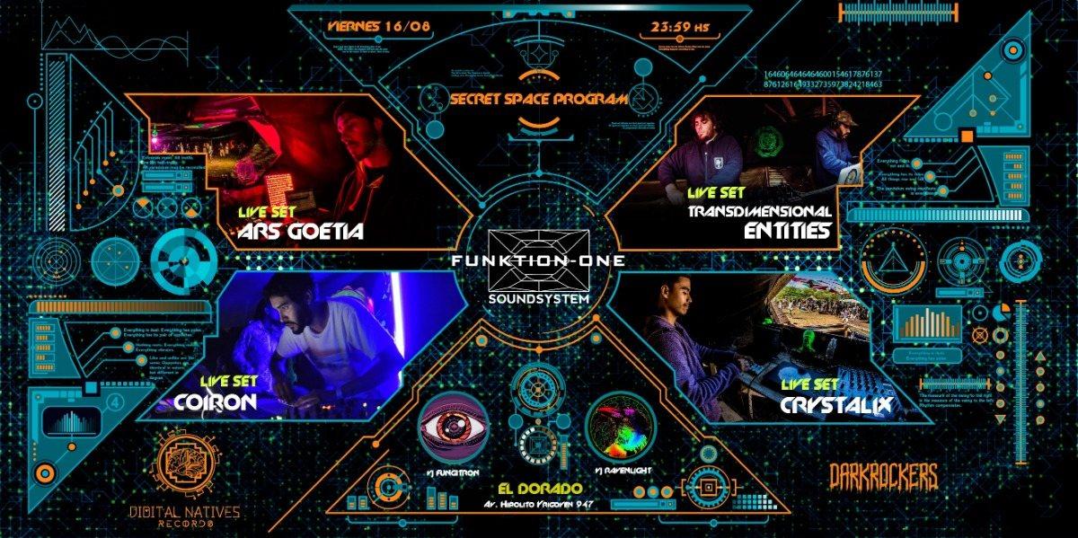 Secret Space Program / Funktion-One / DNR+Darkrockers (Darkpsy/Hitech) 16 Aug '19, 23:30