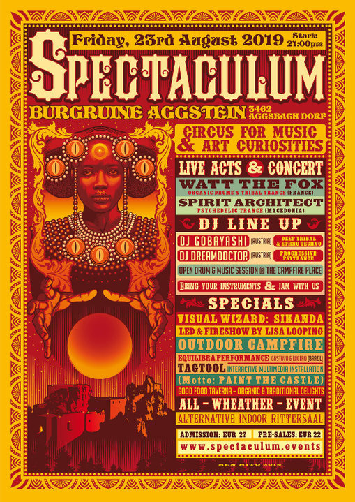 °SPECTACULUM° circus for music - SPIRIT ARCHITECT live, WATT THE FOX live, .. 23 Aug '19, 21:00