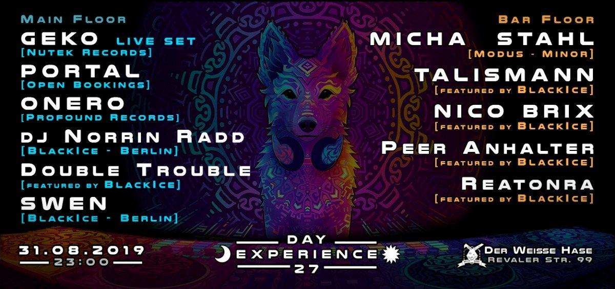 Day Experience 27 w Geko, Portal, Onero, Talismann, Micha Stahl uvm 31 Aug '19, 23:00