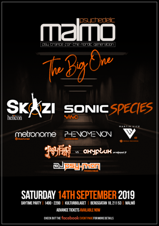 Psychedelic Malmo - Skazi, Sonic Species, Metronome + More 14 Sep '19, 14:00