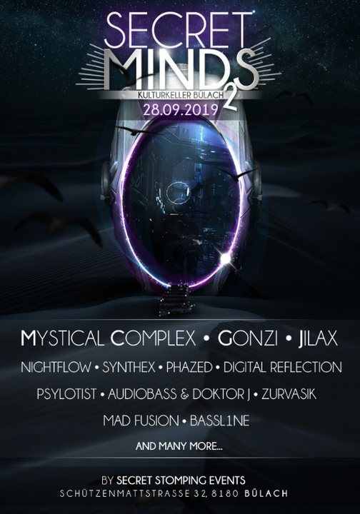 Secret Minds 2 with Mystical Complex, Gonzi, Jilax and many more 28 Sep '19, 22:00