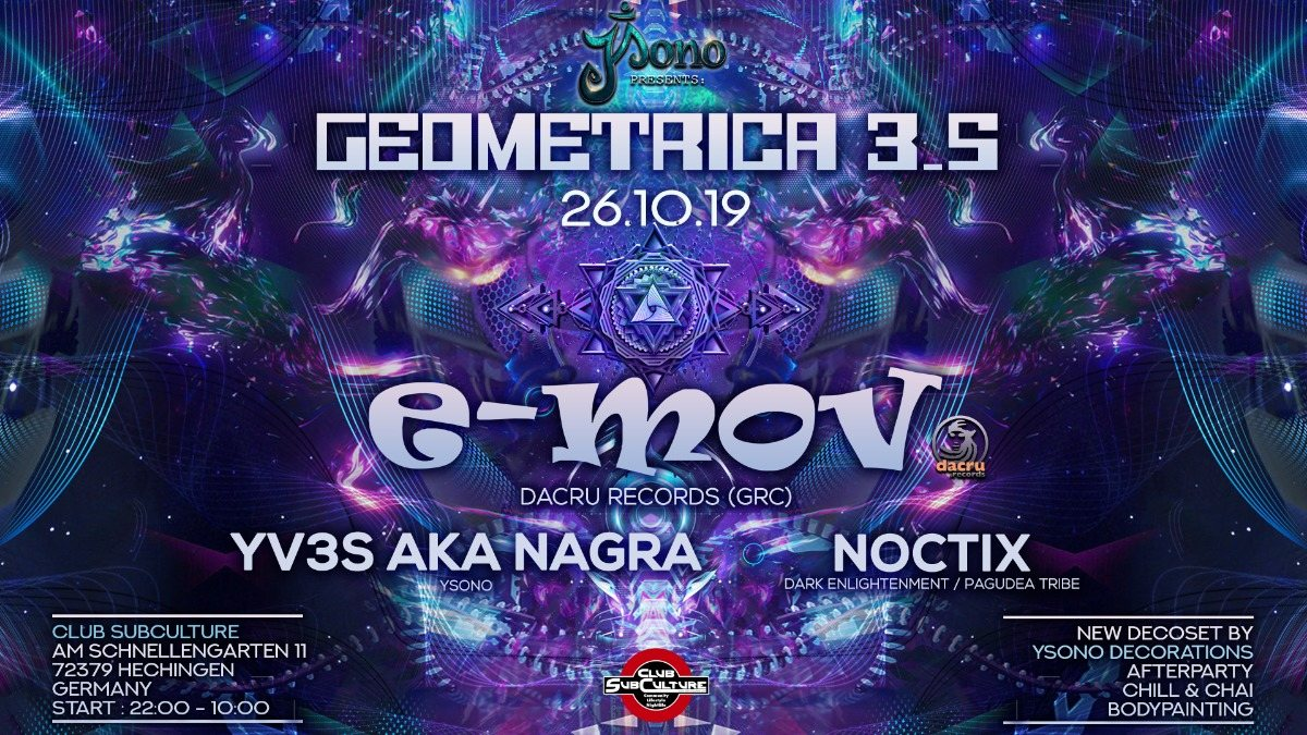 Geometrica 3.5 with E-Mov / New Decoset 26 Oct '19, 22:00