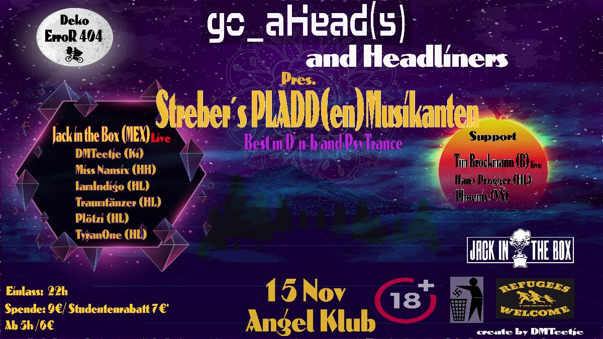 ૐ Streber's PLADD(en)-MUSIKANTEN - Best in D'N'B & PsyTrance ૐ 15 Nov '19, 22:00