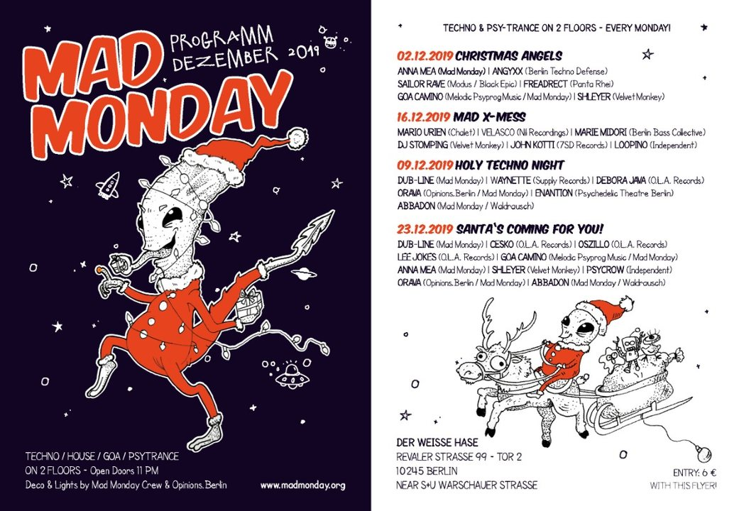 Mad Monday presents Mad X-Mess 16 Dec '19, 23:00