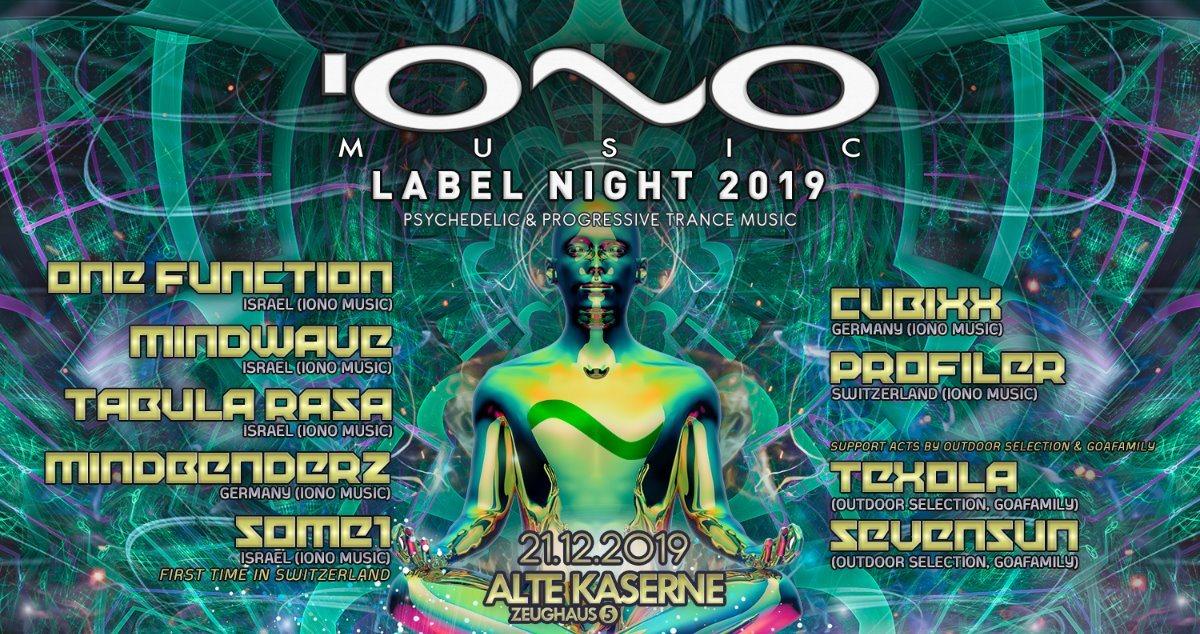"""IONO MUSIC """"Label Night 2019"""" Alte Kaserne Zürich 21 Dec '19, 23:00"""