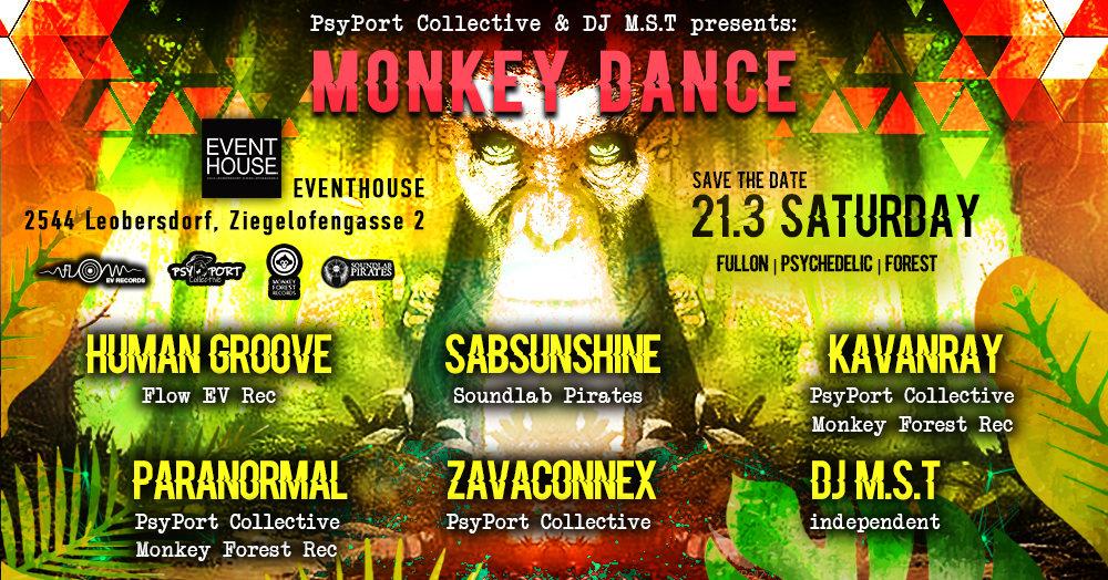 PsyPort Collective & DJ MST present: Monkey Dance 21 Mar '20, 22:00