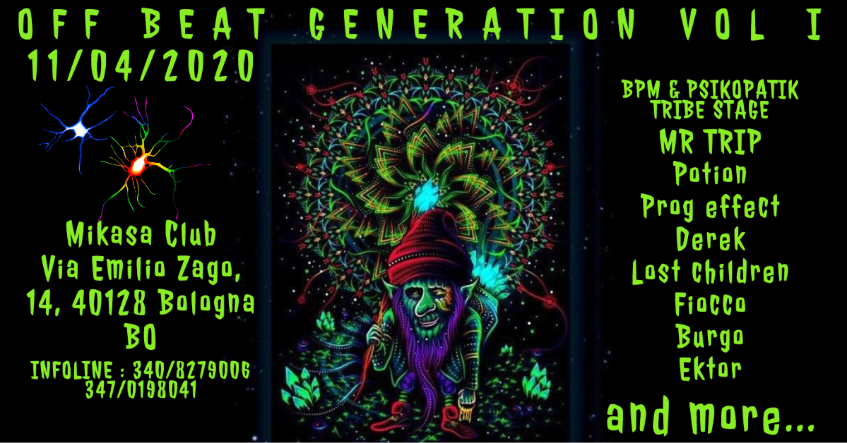 OFF BEAT Generation VOL.1 (Minimal/Progressive Party) 11 Apr '20, 22:00