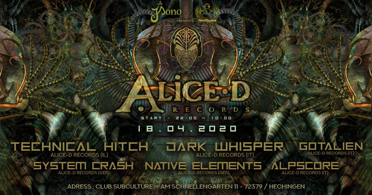 ★ Alice-D Records Labelnight ★ 18 Apr '20, 22:00