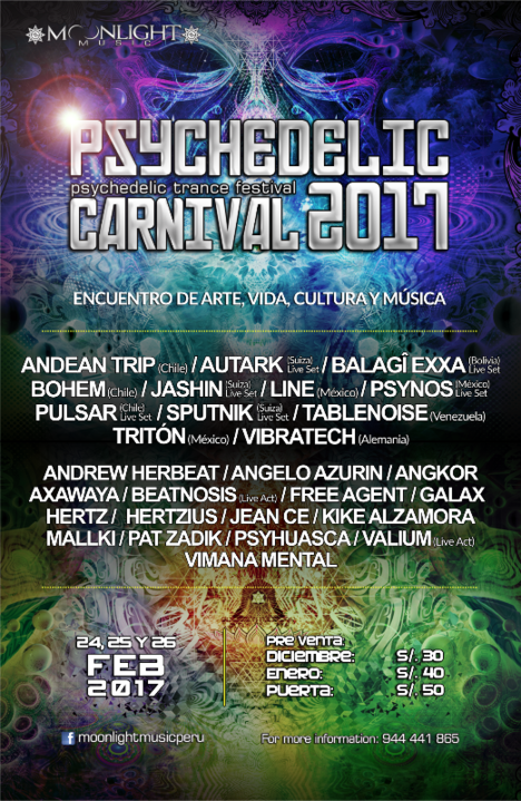 Party flyer: Psychedelic Carnival 2017 - psychedelic trance festival 24 Feb '17, 15:00