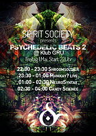 Party flyer: Psychedelic Beats 2 - Free Party presented by Spirit Society & Klub GRU 1. Mai 15, 21:00h