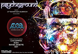 Party flyer: PsYcHeGrOuND Presents: 13th Anniversary Celebration featuring MAD MAXX 22 May '15, 22:00