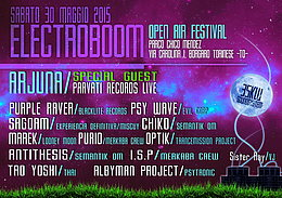 Party flyer: ELECTROBOOM OPEN AIR FESTIVAL II EDITION 30 May 15, 12:30h