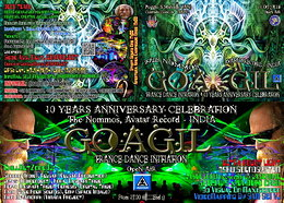Party flyer: ૐ GOAGIL TRANCE DANCE INITIATION 2015 - 10 YEARS ANNIVERSARY CELEBRATION ૐ 11. Jul 15, 13:00h