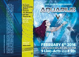 Party flyer: AQUARIUS 5 w. Avalon / Rinkadink / Berg 6. Feb 16, 21:30h