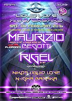 Party flyer: LIQUID LOVE 22th Anniversary/Maurizio Begotti (Etnica-Pleiadians) RIGEL 6. Feb 16, 23:30h