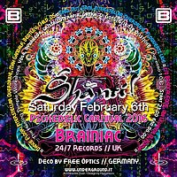 Party flyer: SHANTI! :: Psychedelic Carnival 2016 :: BRAINIAC // 24/7 Records/Grasshopper UK 6 Feb '16, 22:00h