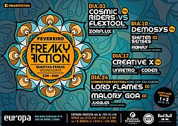 Party flyer: FREAKY FICTION 10. Feb 16, 23:00h