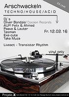 Party flyer: Extrawirsch / Arschwackeln / Oliver Bondzio (Hardfloor / Cocoon Records) 12 Feb '16, 23:00h