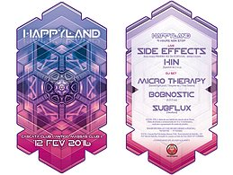 Party flyer: HappyLand W/ SIDE EFFECTS, KIN AND MORE 12. Feb 16, 23:30h