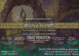 Party flyer: Shiva's Breath vol.2 - OUT OF CONTROL 2 YEARS CELEBRATION 12. Feb 16, 22:00h