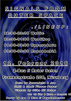 Party flyer: Signals from outer Space 12. Feb 16, 22:00h