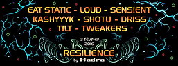 Party flyer: RESILIENCE by HADRA 13. Feb 16, 22:00h