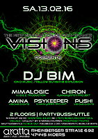 Party flyer: Visions presents: DJ BIM 13. Feb 16, 22:00h