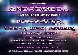 Party flyer: ANDROMEDA (Psychedelic trance party) with Neuromotor Live 19 Feb '16, 18:00h