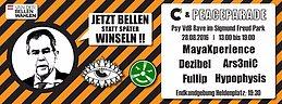 Party flyer: Gemeinsam für VdB / Peaceparade & C³ - GOA im PARK 28 Aug '16, 13:00h