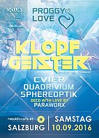 Party flyer: PROGGY LOVE w/ Klopfgeister 10 Sep '16, 22:00h