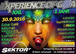 Party flyer: * * Experience of Goa * * XXL Night 30 Sep '16, 20:00h