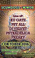 Party flyer: Scumdogs meets WWDR - PROG - PSY 1 Oct '16, 21:00