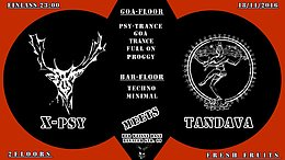 Party flyer: X-PSY MEETS TANDAVA @ Der Weiße Hase Berlin 18 Nov '16, 23:00