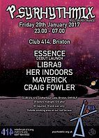 Party flyer: Psyrhythmix January 2017 20 Jan '17, 23:00