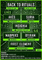 Party flyer: Back to Rituals / AKÉS + SURIA + INSIGNIA + MADPEKS + OTIRAM + FIRST ELEMENT 27 Jan '17, 22:00