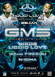 Party flyer: Liquid Love 23rd Anniversary w/ GMS in Athens! 28 Jan '17, 23:00