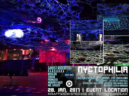 Party flyer: :: Nyctophilia :: (Ghost Rider & Crazy Astronaut & Mad Scientist) 28 Jan '17, 23:00