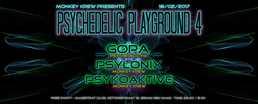 """Party flyer: Monkey Krew presents: """"Psychedelic Playground 4"""" 18 Feb '17, 23:00"""