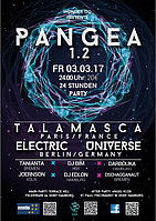 Party flyer: PANGEA 1.2 TALAMASCA & ELECTRIC UNIVERSE 3 Mar '17, 23:30