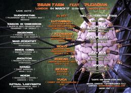 Party flyer: Brain Farm Feat Pleiadian Rec 4 Mar '17, 22:00