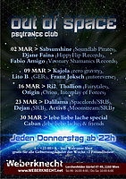 Party flyer: Out Of Space Psytrance Club 9 Mar '17, 22:00